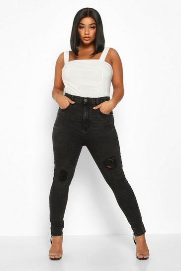 Womens Black Plus Washed High Waisted Distressed Skinny Jean