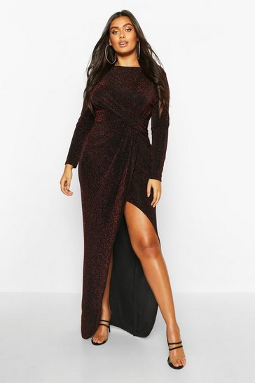 Womens Black Plus Glitter Twist Split Maxi Dress