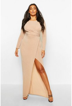 Womens Stone Plus Glitter Twist Split Maxi Dress