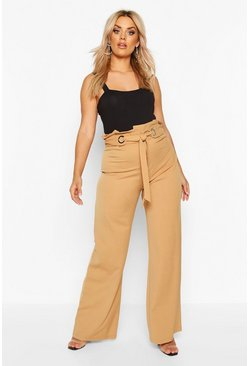 Camel Plus Wide Leg Trousers