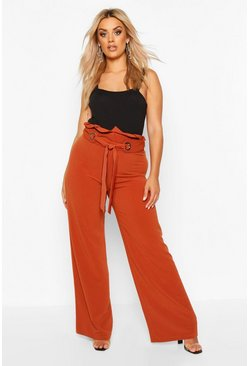 Womens Chocolate Plus Wide Leg Trousers