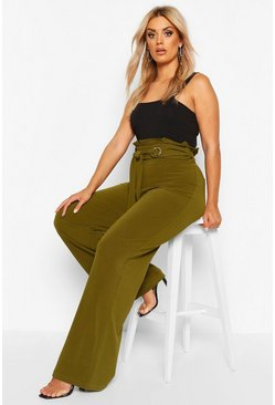 Womens Khaki Plus Wide Leg Trousers