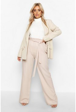 Womens Stone Plus Belted Wide Leg Trouser
