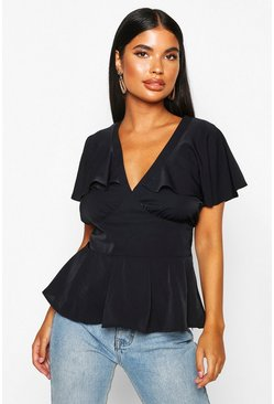 Black Petite Plunge Front Angel Sleeve Peplum Top