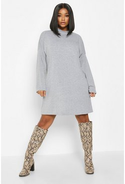 Grey Plus High Neck Drop Shoulder Sleeved T-Shirt Dress
