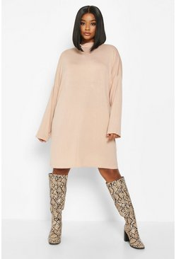 Womens Nude Plus High Neck Drop Shoulder Sleeved T-Shirt Dress