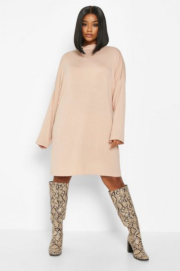 Nude Plus High Neck Drop Shoulder Sleeved T-Shirt Dress