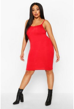 Womens Red Plus Scoop Neck Basic Bodycon Dress