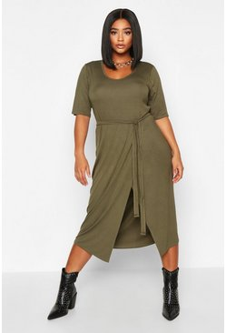 Khaki Plus Tie Waist Wrap T-Shirt Dress