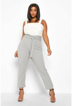 Grey Plus Wrap High Waisted Tie Front Trouser