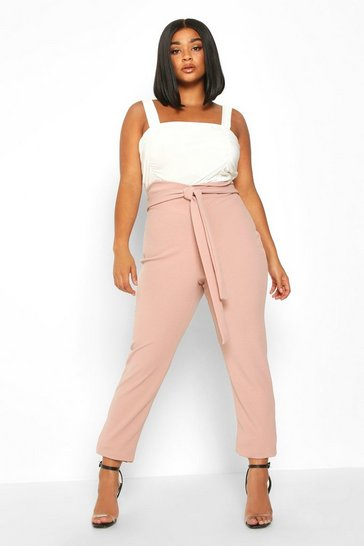 Womens Stone Plus Wrap High Waisted Tie Front Trouser
