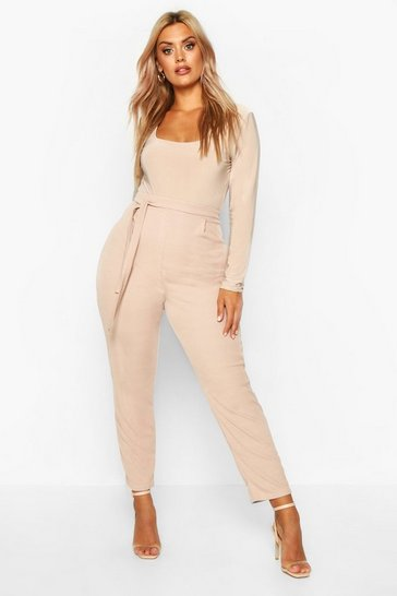 Stone Plus Ribbed High Waist Tie Waist Tapered Trouser