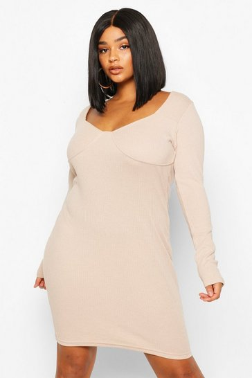 Stone Plus Ribbed Cupped Long Sleeve Bodycon Dress