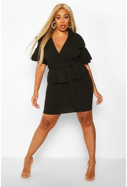 Womens Black Plus Ruffle Wrap Tie Waist Skater Dress