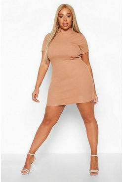 Womens Camel Plus High Neck Short Sleeve Bodycon Dress