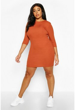 Terracotta Plus Ribbed Cap Sleeve Bodycon Dress