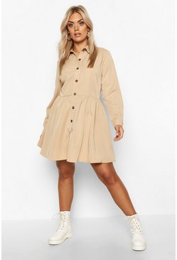 Womens Stone Plus Stripe Button Detail Shirt Dress