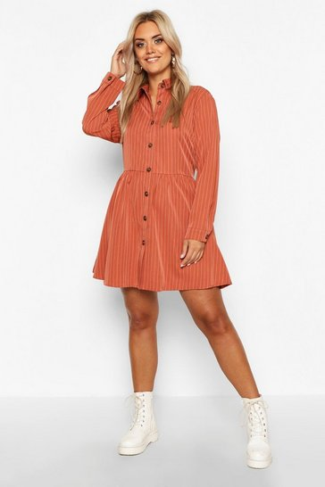 Womens Terracotta Plus Stripe Button Detail Shirt Dress