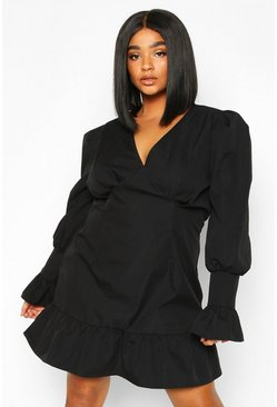 Dam Black Plus Ruffle Detail Plunge Smock Dress