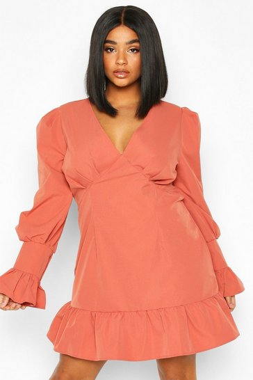 Womens Terracotta Plus Ruffle Detail Plunge Smock Dress