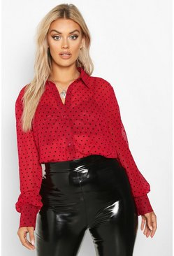 Wine Plus Heart Print Mesh Oversized Shirt