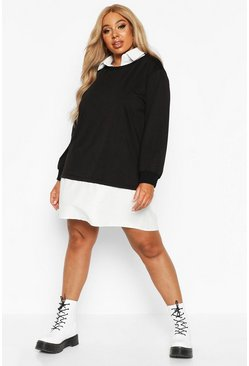 Womens Black Plus 2 In 1 Shirt And Jumper Dress