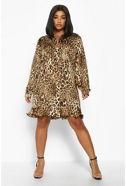 Brown Plus Leopard Print Ruffle Hem Shirt Dress