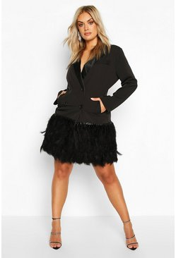 Black Plus Feather Detail Blazer Dress