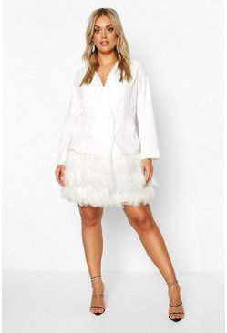 Ivory Plus Feather Detail Blazer Dress