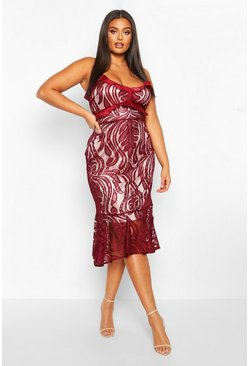 Womens Berry Plus Lace Ruffle Hem Midi Dres