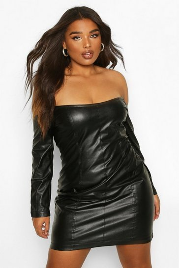 Womens Black Plus Leather Look Bardot Long Sleeve Bodycon