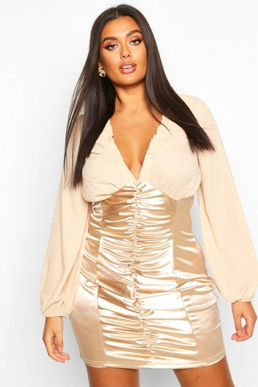 Womens Gold Plus Chiffon Contrast Satin Ruched Mini Dress
