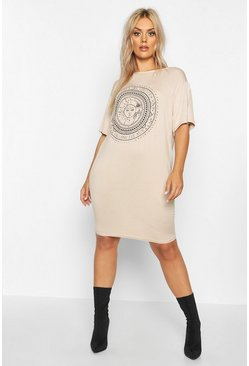 Stone Plus Sun Print Short Sleeve T-Shirt Dress