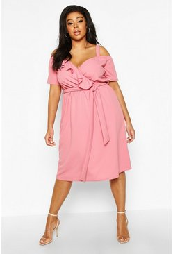 Womens Rose Plus Plunge Ruffle Belt Midi Dress