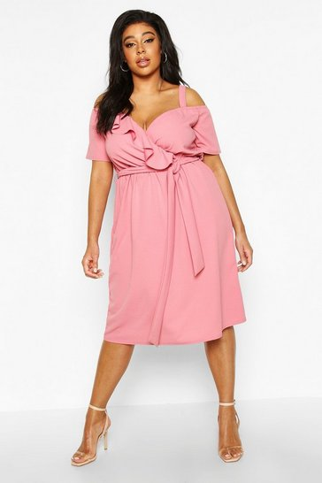 Rose Plus Plunge Ruffle Belt Midi Dress
