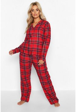 Womens Red Plus Brushed Check Long Sleeve PJ Trouser Set