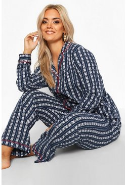 Plus Gebürstetes Pyjama-Set aus Fair-Isle-Strick, Marineblau, Damen