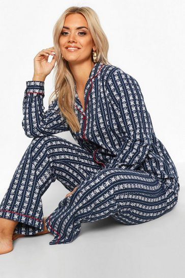 Navy Plus Fairisle Print Brushed PJ Set
