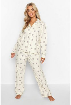 Womens Ecru Plus Star Print Button PJ Trouser Set