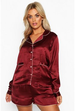 Womens Plum Plus Satin Button Through Long Sleeve Short Set
