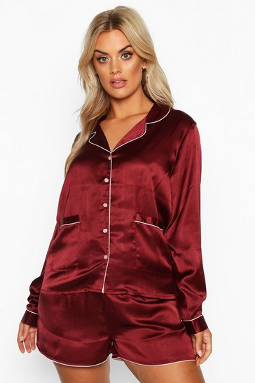 Plum Plus Satin Button Through Long Sleeve Short Set
