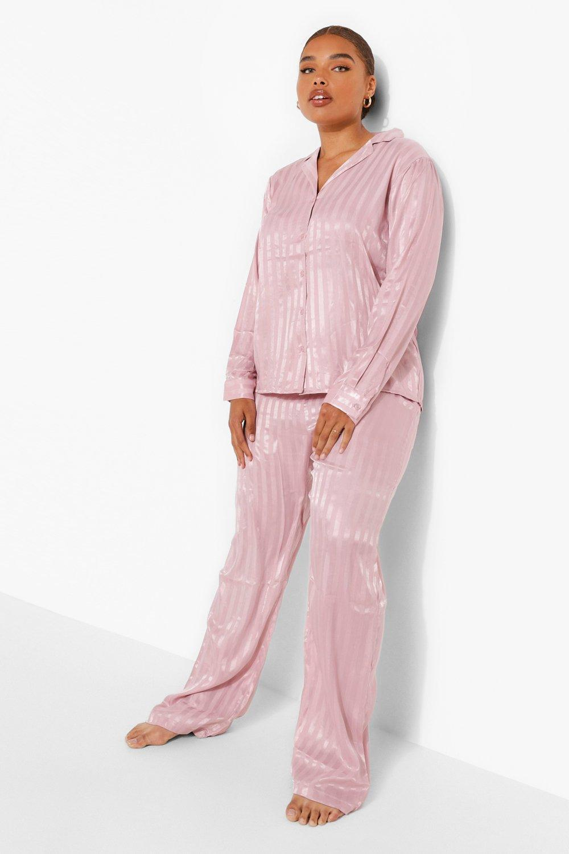 Vintage Nightgowns, Pajamas, Baby Dolls, Robes Womens Plus Satin Stripe Long Sleeve Pants Pj Set - Pink - 16 $45.00 AT vintagedancer.com