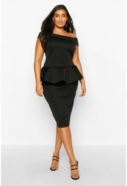 Womens Black Plus Scuba Peplum Top & Midi Skirt Co-ord