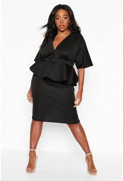 Black Plus Scuba Plunge Kimono Top & Midi Skirt Co-ord