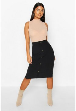 Womens Black Petite Button Through Rib Midi Skirt