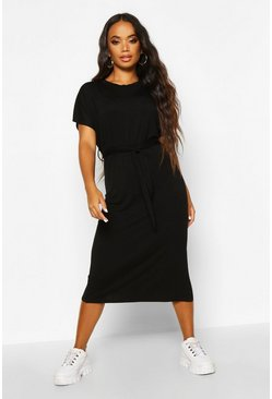 Womens Black Petite Batwing Sleeve Tie Midi T-Shirt Dress