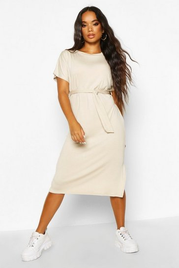 Womens Stone Petite Batwing Sleeve Tie Midi T-Shirt Dress
