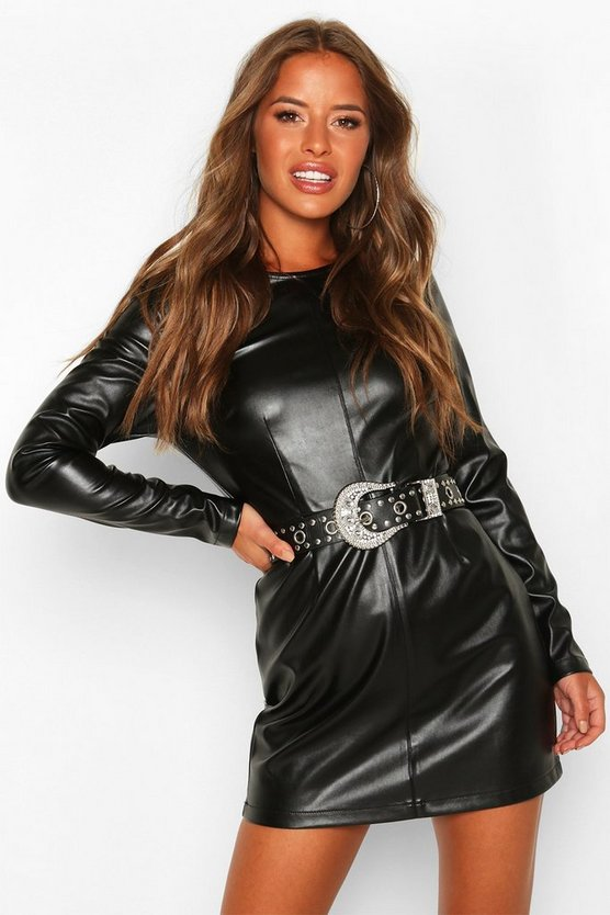 Black Petite Leather Look Shift Dress