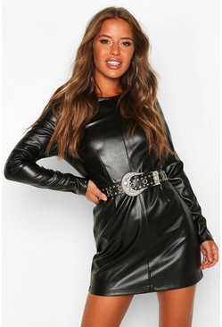 Womens Black Petite Leather Look Shift Dress
