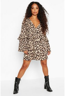Womens Black Petite Leopard Print Frill Smock Dress